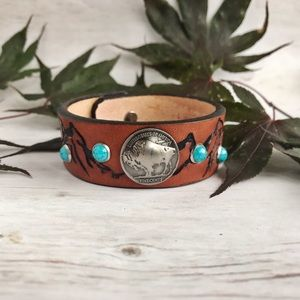 Handcrafted Leather and Buffalo Nickel Bracelet